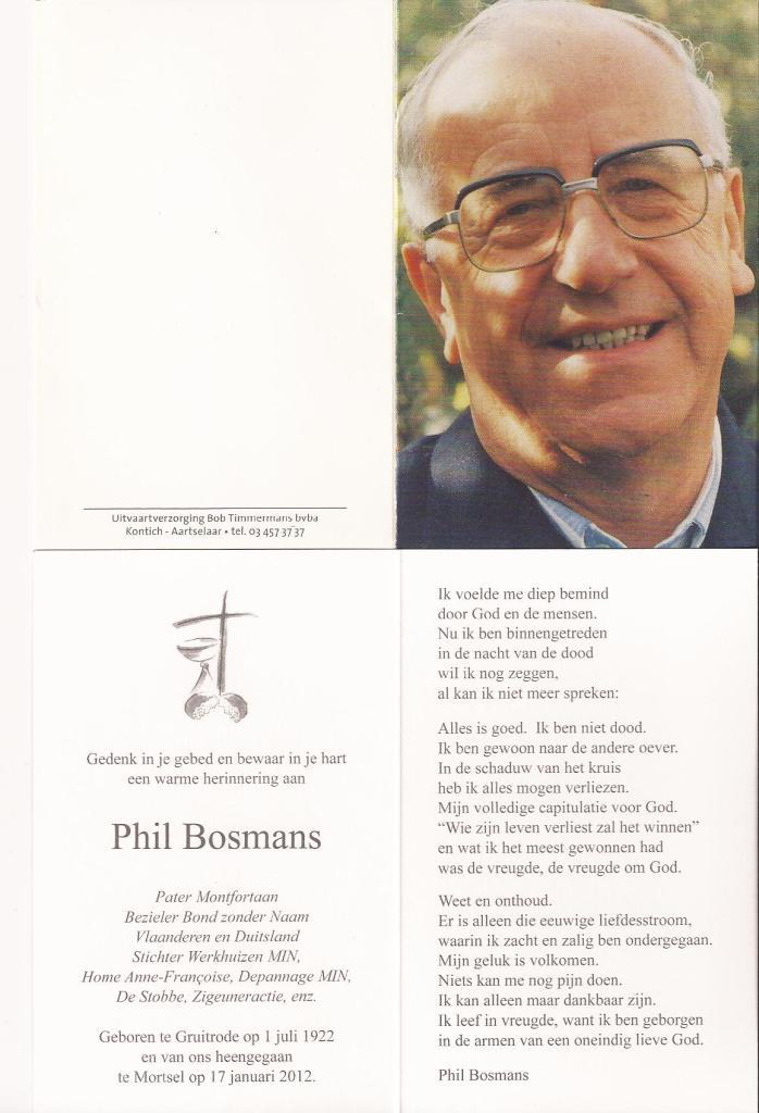 Overlijden Phil Bosmans